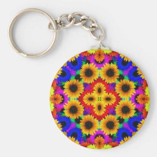 Abstract Sunflowers Art Key Chain