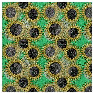 Abstract sunflowers summer mood fabric