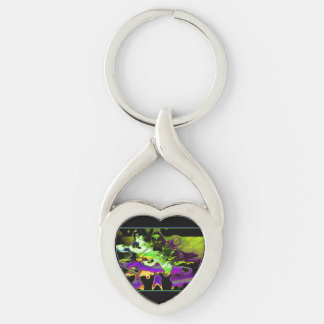 Abstract Sunset Melt Twisted Heart Keychain