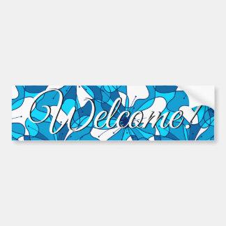 Abstract surf hibiscus bumper sticker