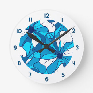 Abstract surf hibiscus wall clock