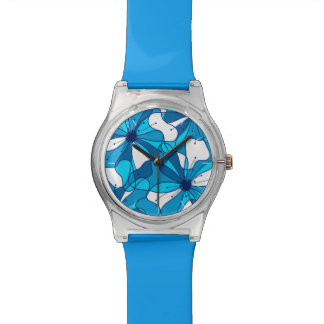 Abstract surf hibiscus watch