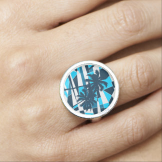 Abstract surf palm trees photo ring