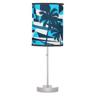 Abstract surf palm trees table lamp