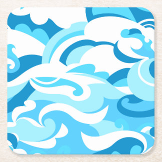 Abstract surf waves square paper coaster
