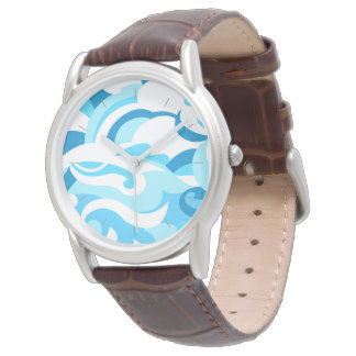 Abstract surf waves wrist watches