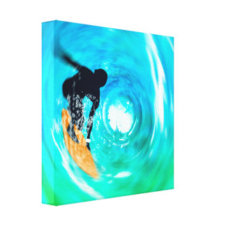 Abstract Surfer Silhouette Wrapped Canvas
