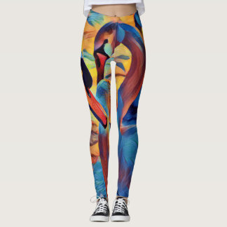 Abstract Swan Artistic Painting Colorful Leggings
