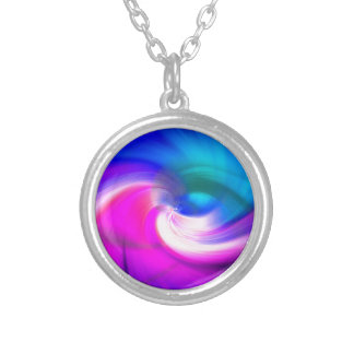 ABSTRACT SWIRL, BRILLIANT BRUSHSTROKES ROUND PENDANT NECKLACE