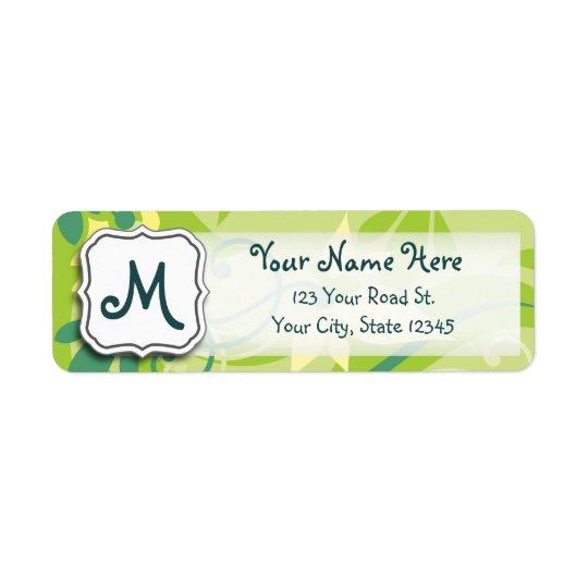 Abstract Swirl Floral Lime Green with Monogram