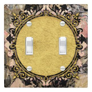 Abstract Swirl Pink Black & Gold Glam Grunge Art Light Switch Cover