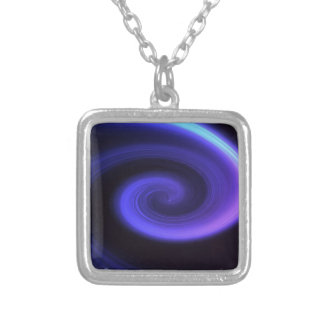 Abstract swirl. silver plated necklace