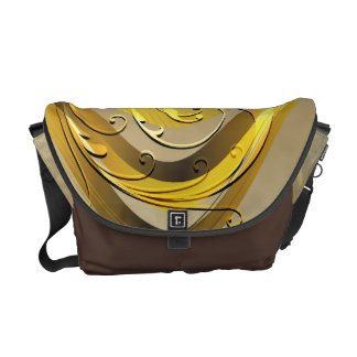 Abstract Swirls and Scrolls Grid Vector Graphic Courier Bags