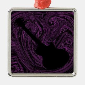 Abstract Swirls Guitar Ornament, Purple Metal Ornament
