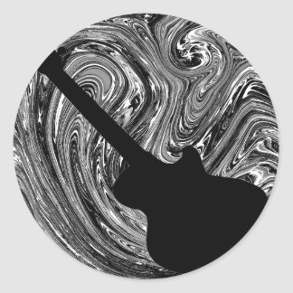 Abstract Swirls Guitar Stickers, Black and White Round Sticker