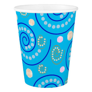 Abstract Swirls on Blue Paper Cup