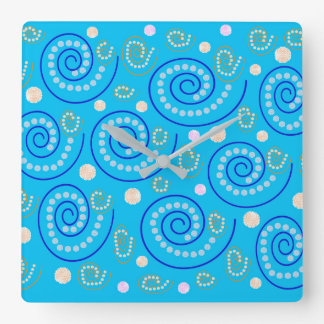Abstract Swirls on Blue Wallclock
