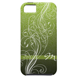 Abstract Swirls on bright green with Monogram iPhone 5 Cases