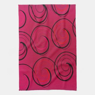 Abstract Swirls on Magenta Kitchen Towel