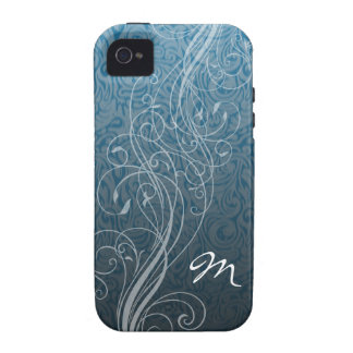 Abstract Swirls on teal with Monogram iPhone 4/4S Covers