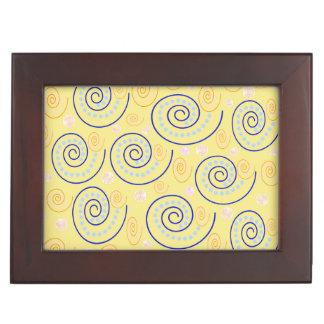 Abstract Swirls on Yellow Keepsake Box
