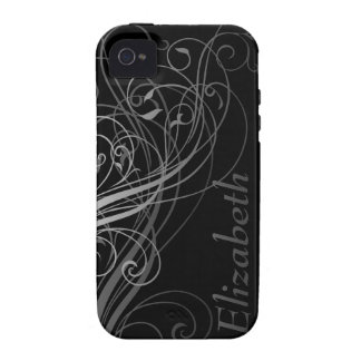 Abstract Swirls with Area for Name iPhone 4 Covers