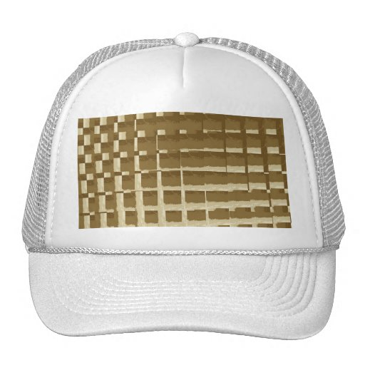 Abstract Tan Mosaic Tiles Brown Camo Pattern Mesh Hat