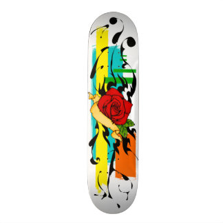Abstract Tattoo Rose Deck Custom Skateboard