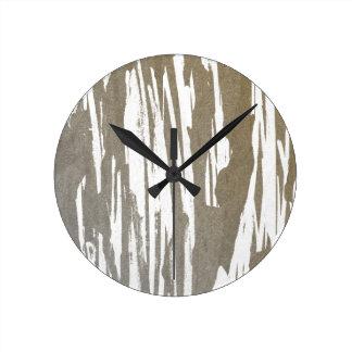 Abstract Taupe Splash Design Round Clock