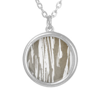 Abstract Taupe Splash Design Silver Plated Necklace