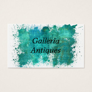 Abstract Teal And Gold Watercolor Business Card