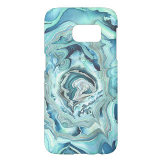 Abstract teal blue green watercolor art case
