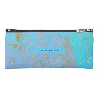 Abstract Teal Blue with Faux Gold Dots Pencil Case