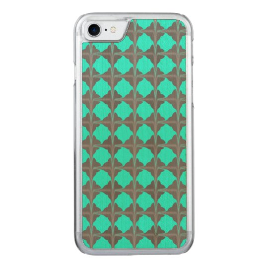 Abstract Teal Grey Quatrefoil Pattern Carved iPhone 8/7 Case