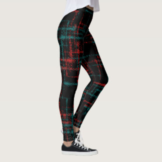 abstract teal red criss cross pattern leggings