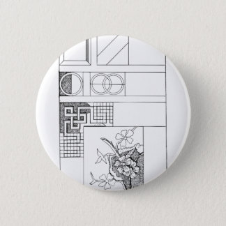 Abstract Textile Design with Flowers and Shapes 2 Inch Round Button