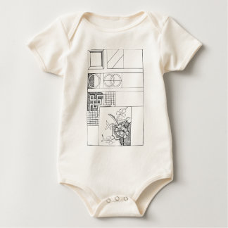 Abstract Textile Design with Flowers and Shapes Baby Bodysuit