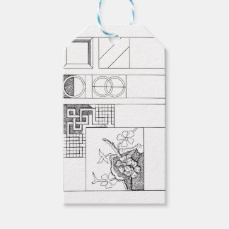 Abstract Textile Design with Flowers and Shapes Gift Tags