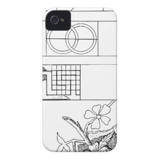 Abstract Textile Design with Flowers and Shapes iPhone 4 Cover
