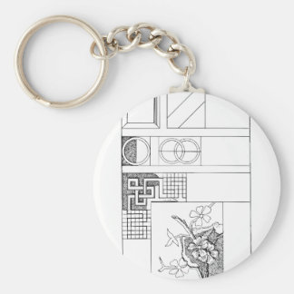 Abstract Textile Design with Flowers and Shapes Keychain