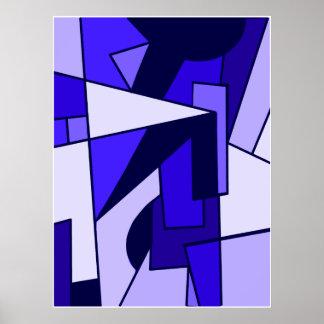 Abstract Three Blue multi shape art Poster