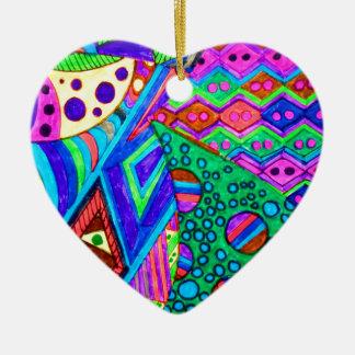 ABSTRACT THREE CERAMIC HEART ORNAMENT