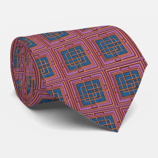 Abstract Tie Neck  Graphic Waves Squares Windows