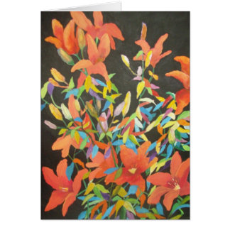 Abstract tiger lily notecard