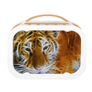 Abstract tiger portrait fractal art lunchboxes