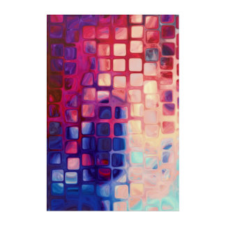 Abstract Tiles red Wall Art