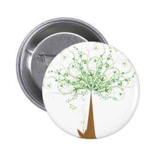 Abstract Tree and Butterflies 2 Inch Round Button
