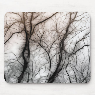 Abstract Tree Black and White Mouse Mat