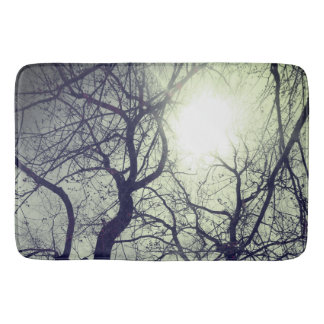 Abstract  tree   black  white sun   bath mat