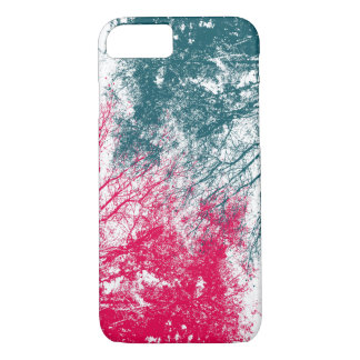 Abstract tree branches in green and hot pink iPhone 7 case
